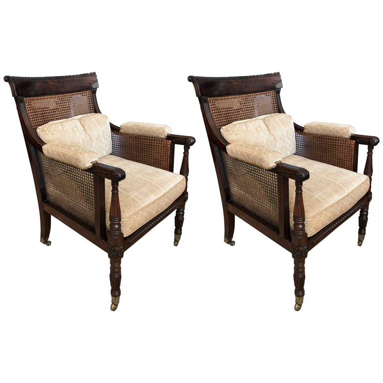 Pair of English Regency Caned Library Bergere Armchairs For Sale