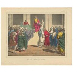 Antique Religious Print 'No. 33' Pilate Washing His Hands, circa 1840