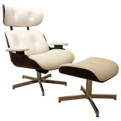 Selig Eames Leather Swivel Lounge Chair and Ottoman