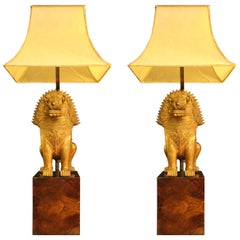 "Gold Bronze ""Foo Dog"" Lamps, Shade in Real Parchment, 1950"