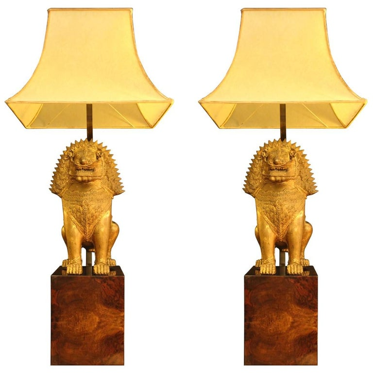 """Gold Bronze """"Foo Dog"""" Lamps, Shade in Real Parchment, 1950"""