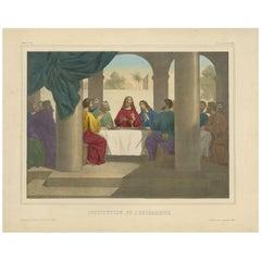 """Antique Religious Print """"No.26"""" the Institution of the Eucharist, circa 1840"""