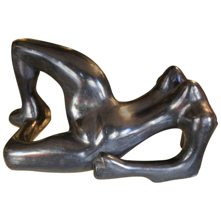 "Black Ceramic Sculpture ""Woman"" 1950"