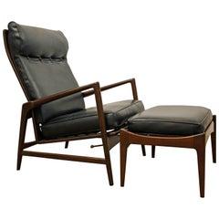 Ib Kofod-Larsen Selig Recliner Lounge Chair and Ottoman
