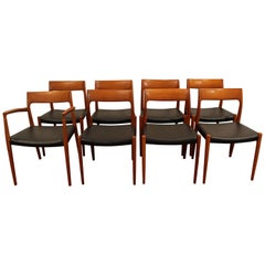 Set of Eight Niels Moller Teak #77 Dining Chairs