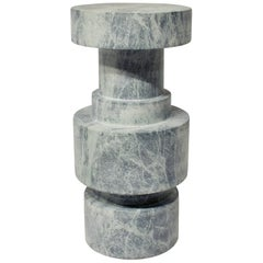 Honed Verde Alpi Marble End Table, Counter Stool