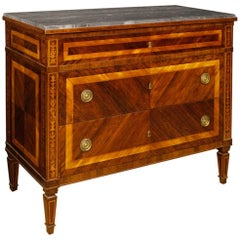 Italian Dresser in Inlaid Wood with Marble Top in Louis XVI Style, 20th Century
