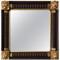 Mahogany Framed Mirror with Gilded Loin Heads