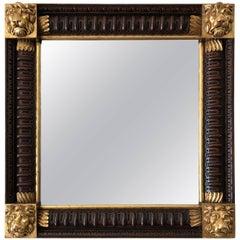Mahogany Framed Mirror with Gilded Loin Heads