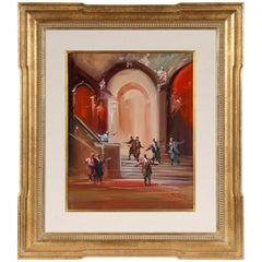 "M.L. Monteith, Signed Modern Oil on Panel, Scene from Verdi's Opera ""Othello"""