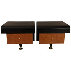 Pierre Cardin Bedside Tables, Walnut, Cast Iron and Brass, 1980s