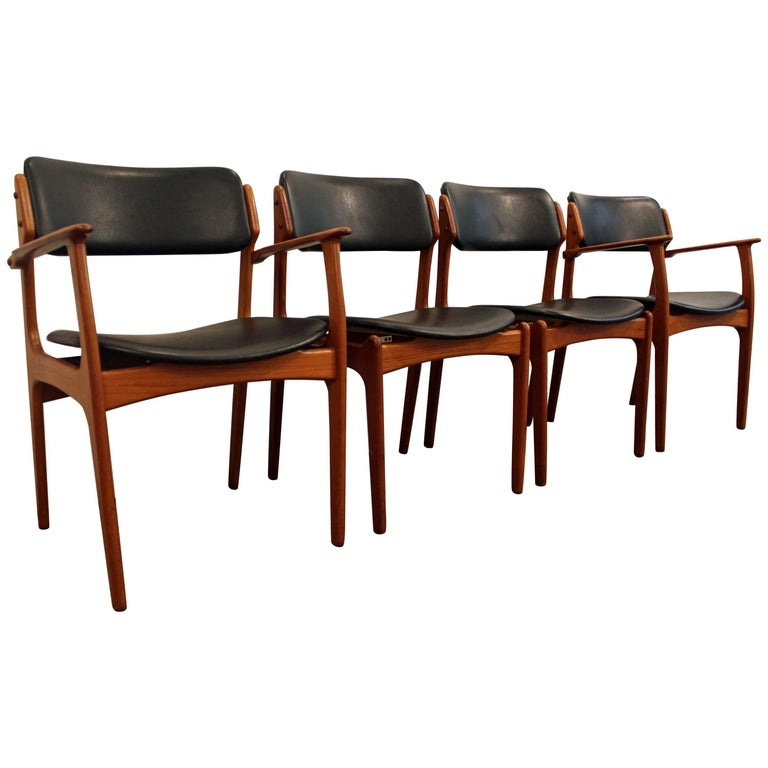 Set of Four Erik Buch for O.D. Mobler Teak Dining Chairs