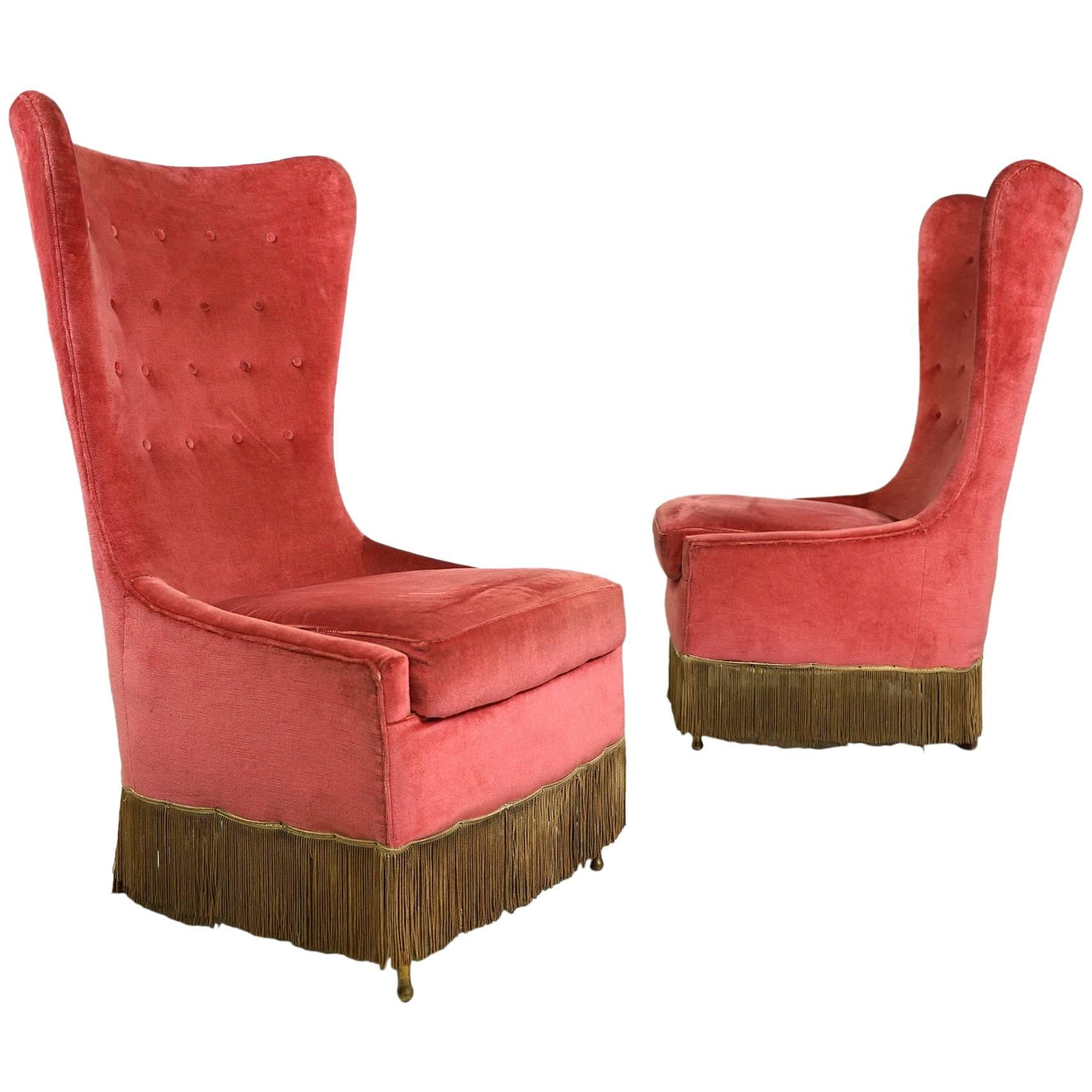Pair of velvet Easy Chairs by Cesare Lacca, circa 1950