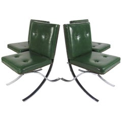 Set of Four Barcelona Style Midcentury Side Chairs