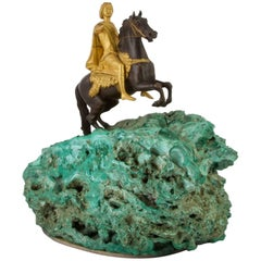 Antique Bronze and Malachite Statue of Peter the Great, circa 1780
