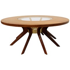 Mid-Century Walnut and Glass Sculpted 'Sputnik' Round Coffee Table