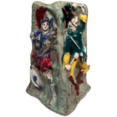 A. Miniati Art Deco Italian Ceramic Multiple Characters Vase, circa 1930