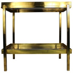 Italian Brass Serving Table with Removable Tray, 1970s