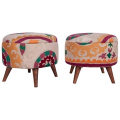 Ottoman or Poufs Fashioned from a Mid-20th Century Tajik Suzani