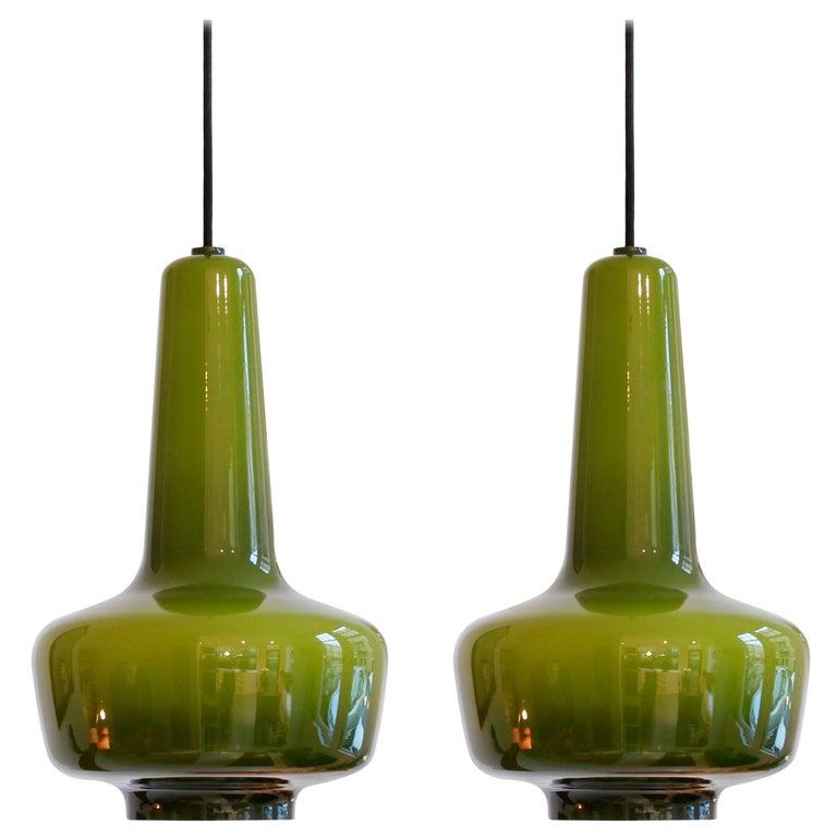 Set of Two Green Kreta Pendants by Jacob Bang for Fog & Mørup Holmegaard Denmark