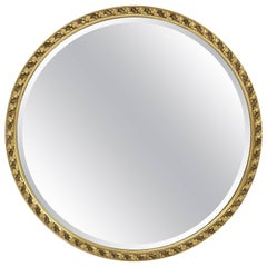 English Round Bevelled Mirror in Gilt Frame (Diameter 25 1/2)