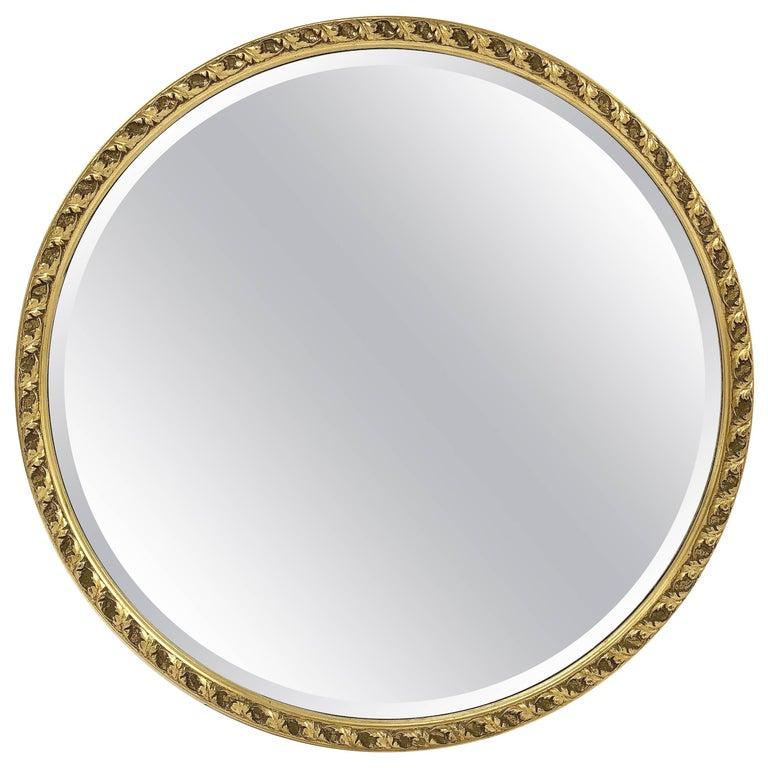 English Round Bevelled Mirror in Gilt Frame