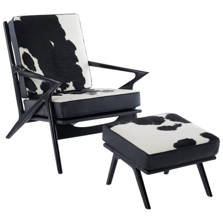 1 Z Lounge Chair and Ottoman in Hair on Hide in the Manner of Poul Jensen For Sale