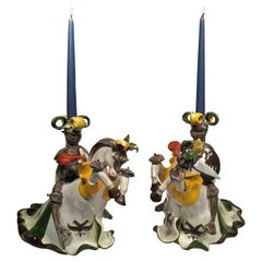 A.Miniati Art Deco Italian Ceramic Pair of Brazed Candlesticks, circa 1930