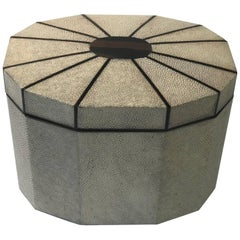 Octagonal natural Shagreen Box with Ebony Inlay