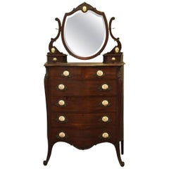 1880s Queen Anne Mahogany Tall Dresser with Porcelain Pulls Made by R.J. Horner