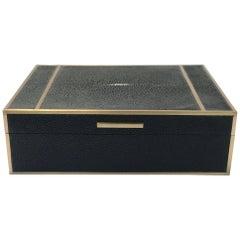 Black Shagreen Box with Brass Inlay