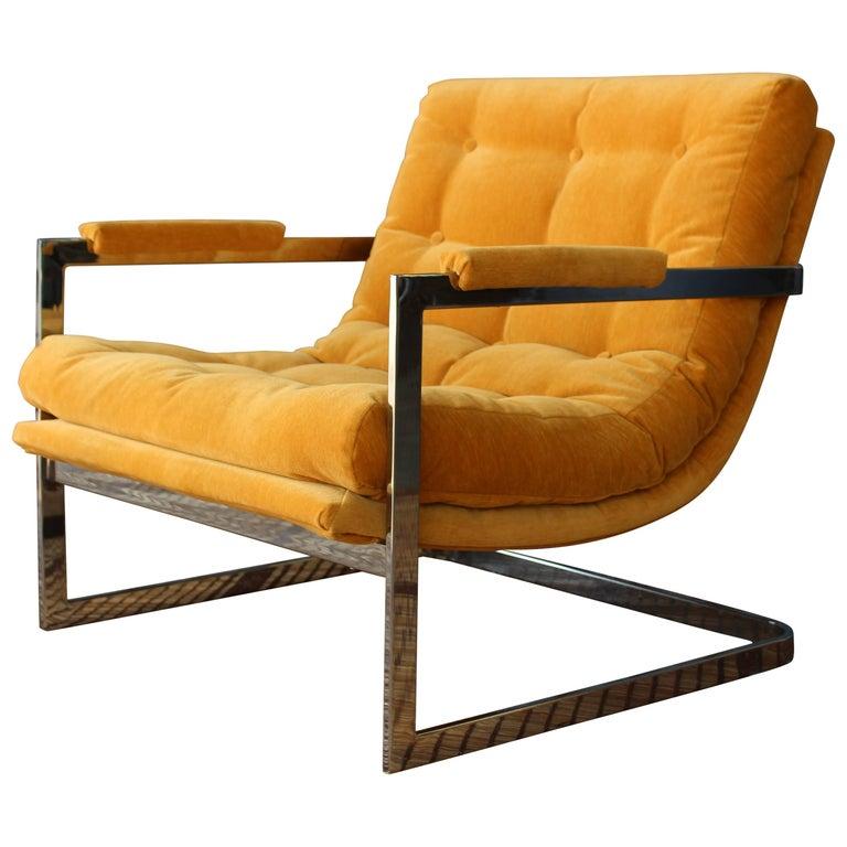 Milo Baughman Chrome Lounge Chair