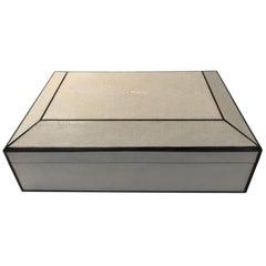 Natural Shagreen Box with Ebony Inlay