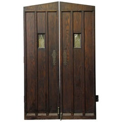 1920s Oak Wine Cellar Double Entry Doors with Gothic Arch