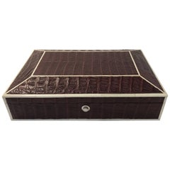 Genuine Brown Crocodile Box with Bone Inlay