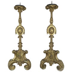 19th Century Italian Giltwood Candlesticks, Pair