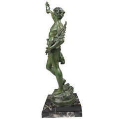 French Louis Moreau Statue in Bronze and Marble Le Triomphe, 1910s