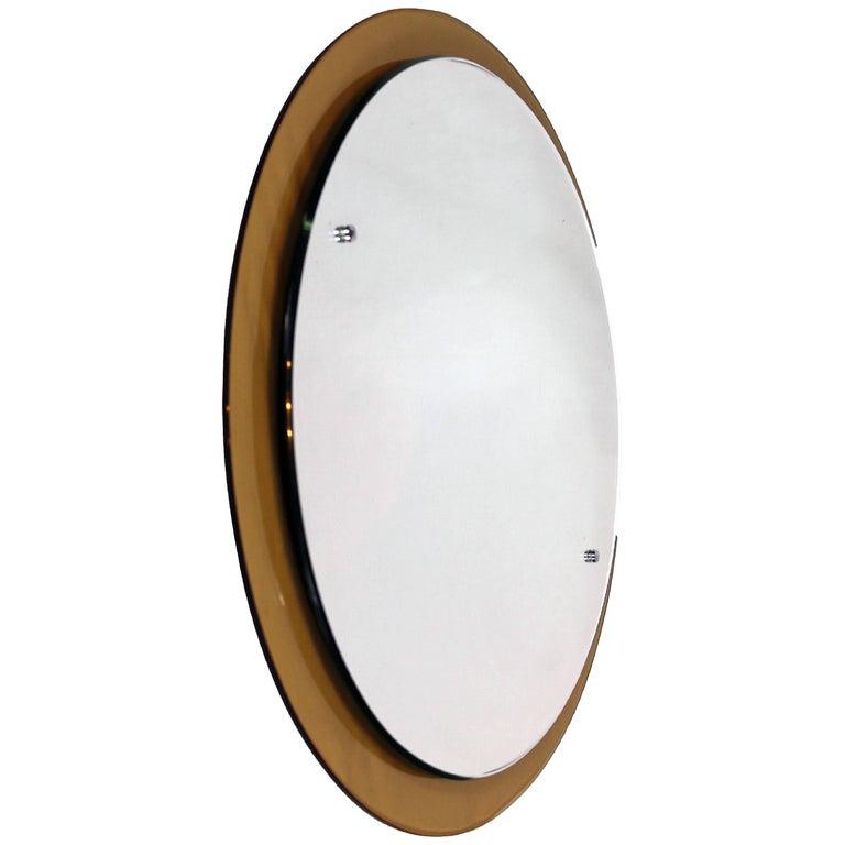 Italian Mirror on Smoked Glass Cristal Art Design, 1960s