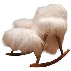 Scandinavian Rocking Chair Reupholstered with Norlandic Longhair Sheep