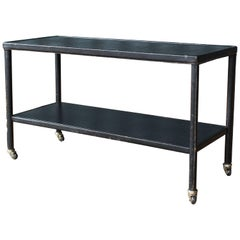 Jacques Adnet Leather Wrapped Shelf on Casters