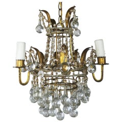Italian Gilt Metal Chandelier with Crystal Ball Drops, circa 1930