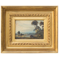 Landscape with Trees, Original Oil on Board Painting