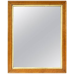 English Rectangular Maple and Giltwood Framed Mirror (H 32 x W 23)