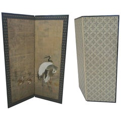 Antique Japanese Four-Panel Folding Screen with Hand-Painted Cranes