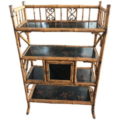 English Bamboo Bookcase Etagere