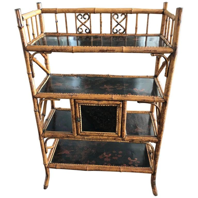 English Bamboo Bookcase Etagere