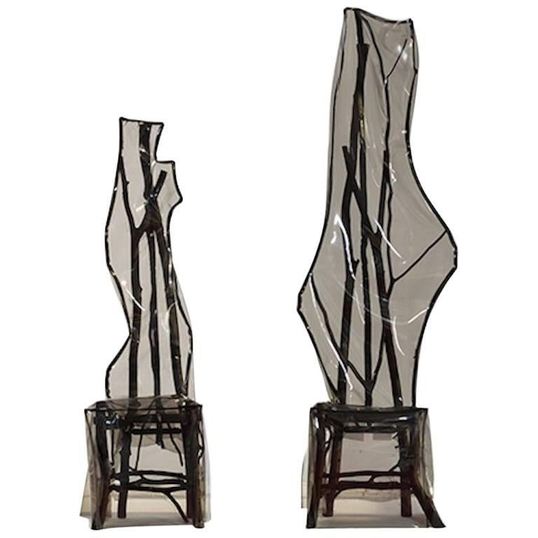 Untitled Chairs By Artist Sam Stewart In Maple And Beechwood For Sale