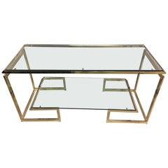 Glamorous Brass and Glass Two-Tier Milo Baughman Style Console Table