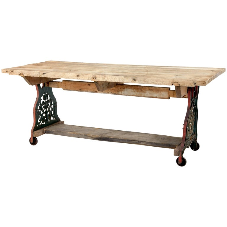 Early 20th Century Converted Cast Iron Work Table For Sale