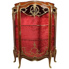 French 19th-20th Century Louis XV Style Kingwood and Ormolu Mounted Vitrine